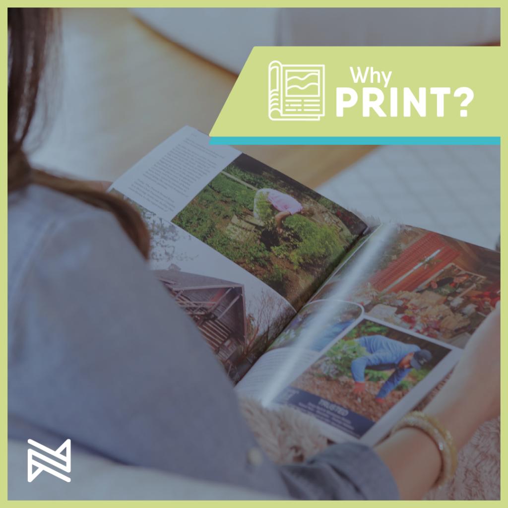 print publication woman holding reading magazine