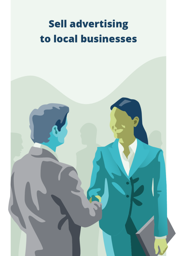 salesperson sell advertising to local businesses